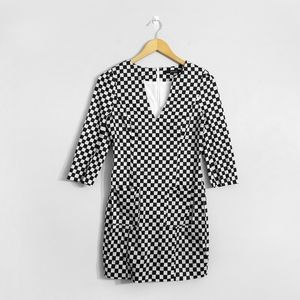 ARK & CO Checkerboard V Neck Bodycon Dress